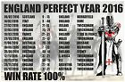 ENGLAND Rugby FAN T SHIRT 100% WIN RATE THE PERFECT YEAR 2016 English Rugby Top