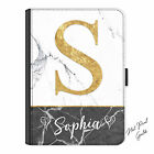 Initial Ipad Case, Personalised Marble Print Leather Flip Cover For Apple Ipad