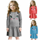 Toddler Kids Girls Cat Printed Long Sleeve Casual Tunic Swing Dress Age 2-7Y