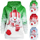 Women Christmas Reindeer Print Hooded Drawstring Mini Dress Fashion Sweatshirt