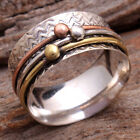 MEDITATION SPINNER BAND- 925 Sterling Silver Three Tone Ring Choose All Size US