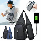 Men Nylon Shoulder Bag Sling Chest Pack Usb Charging Sports Crossbody Handbag