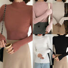 Women Sweater Winter Warm Jumper Solid Ribbed Knitted Pullover Slim Tops GIFT