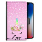 Unicorn Initial Phone Case, Personalised Pink Snow Print PU Leather Flip Cover