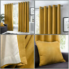 Ochre Mustard Eyelet Curtains 100% Cotton Plain Lined Ring Top Curtains Pair