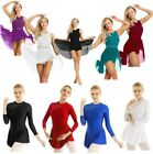 Agoky Women Girls Ballet Dance Dress Asymmetric Skirt Leotard Skating Dancewear