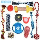 8/10/12/20 Dog Puppy Rope Toys for Playful & Teething Knots & Balls