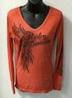 Harley Davidson Womens Statuesque Long Sleeve V-Neck Shirt-Dyed Red R003369 $49.0 USD on eBay