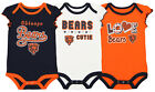 Outerstuff NFL Infant Girls Chicago Bears Touchdown 3 Pack Creeper Set $9.99 USD on eBay