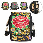 Ethnic Women Cell Phone Bag Retro Embroider Purse Messenger Crossbody Bag Wallet