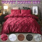 Solid Diamond Pintuck Duvet Cover Set Twin/Queen/King Size Bedding Set Soft US image
