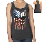 Halloween US Skull Racerback Striped Patriotic Skull Women's Tank Top - 1670C