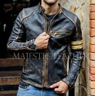 Men's Black Biker Vintage Motorcycle Distressed Cafe Racer Leather Jacket