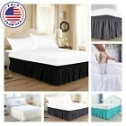 """Solid Elastic Bed Skirt Dust Ruffle Wrap Around 16"""" Queen King Matress protector image"""