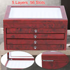 56 Pens 5 Layer Large-capacity Wooden Box Fountain Pen Display Storage Case GOOD
