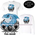 Billiards Eight 8 Ball Great White Pool Shark Blue Cartoon White T Shirt S-3X $16.95 USD on eBay