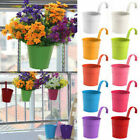 1/10 Flower Pot Hanging Balcony Garden Fence Plant Metal Iron Planter Home Decor