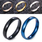 4mm Fashion Simple Polished Stainless Steel Band Wedding Finger Ring Jewerly Uk