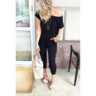 Womens Tracksuit One Shoulder Casual Jumpsuit Playsuit Loose Comfy Lounge Wear