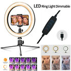 """Dimmable 10"""" LED Ring Light with Tripod Stand Phone Holder Camera Selfie Video"""