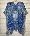 Medium/Large/XL/1X/2X White Blue Aqua Print Kimono Top Jacket  Beach Cover