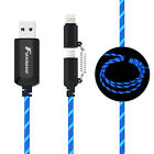 Fast Charging Cable EL Flowing Light Micro Sync USB Cable for Android iPhone