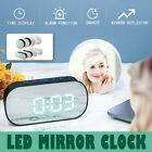 Digital LED Alarm Clock Mirror Display Temperature Snooze Table Desk USB