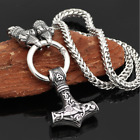 Odin's Ravens Mjolnir Viking Necklace |Stainless Steel | Norse | Viking Jewelry