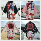 Lady Girls Japanese Kimono Coat Loose Yukata Outwear Tops Fortune Lucky Cat Cute