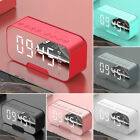 Mirror Digital Dual Alarm Clock LED Dimmer Temperature Wireless Speaker FM Radio