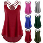 Womens Summer Off Shoulder Strap T Shirt Sleeveless Plus Size Tank Tops Blouse