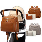 Leather PU Mummy Diaper Backpack Baby Nappy Travel Insulation Bag Changing Pad