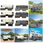Rattan Garden Furniture Set Corner Sofa Glass Table Brown/black Outdoor Comfort