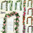 2pcs Rose Garland Artificial Rose Vine Flowers Hanging Floral Home Party Decor