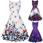 Vintage Women 50s 60s Floral Pinup Summer Dresses Party Cocktail Tea Swing Dress