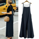 Women Plus Size Loose Cotton Linen Jumpsuit Dungarees Playsuit Trousers Overalls