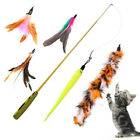 WO_ EE_ Funny Cat / Kitten Pet Teaser Feather Wire Chaser Pet Toy Wand Beads Pla