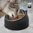 Raised Tilted Cat Bowls Stand Elevated Stainless Steel Pet Dog Food Water Feeder