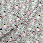100% Cotton Poplin Fabric Birds Ladybirds And Butterflies On Branches And Leaves