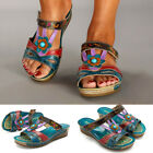 Womens Open Toe Bosnian Ethnic Style Sandals Casual Beach Shoes Wedges Slippers