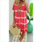 Women Summer Tie-dye Short Sleeve V Neck Short Dress Loose Beach Casual Sundress