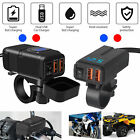 QC 3.0 Motorcycle Dual USB Phone Fast Charger Adapter Handlebar LED Waterproof