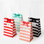 Cross Stripe Paper Party Loot Bags Handles Candy Bag Wedding Birthday Gift Bags