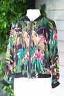 Johnny Was Workshop Silk Tropical Printed Zip-Up Bomber Jacket Boho Chic W49420