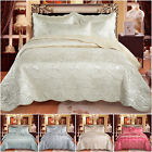 Luxury 4 Piece Quilted Bedspread Embroidered Satin Bedding Set Double King Size