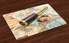 Compass Place Mats Set of 4 Telescope on Antique Map