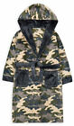Boys Dressing Gown Kids New Camo/Grey Hooded Soft Robe Age 7 - 13 Years