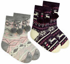 Girls Fair Isle Knitted Winter Socks Lounge Warm Soft Gripper Fleece Socks UK