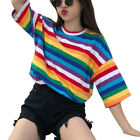 Women Harajuku Rainbow Stripe Short Summer Sleeve Loose T-Shirt Top Blouse Baggy