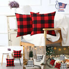 2x Throw Pillow Cover Red Black Buffalo Check Plaid Home Decor Cushion Sofa Case